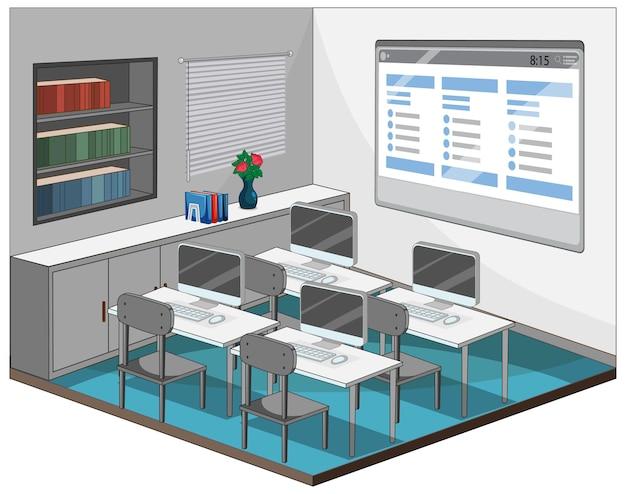Interior vazio da sala de aula do computador com elementos da sala de aula