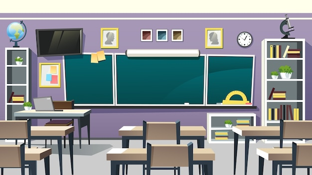 Interior vazio da sala de aula escolar com quadro-negro na parede violeta, vista em perspectiva