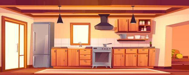 Interior vazio de cozinha rústica com móveis de madeira