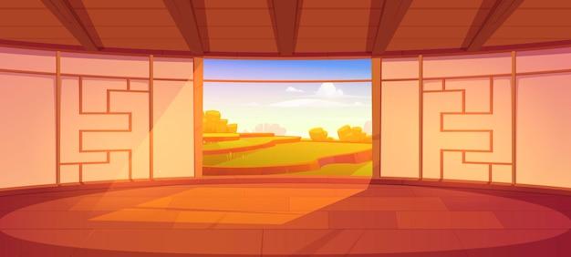 Interior vazio do quarto dojo em estilo japonês para meditação ou treino de artes marciais com piso de madeira e porta aberta com vista panorâmica e pacífica na ilustração dos desenhos animados do campo de arroz asiático