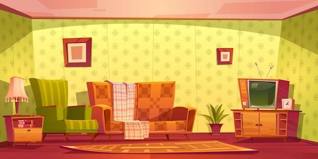 Interior vintage da sala de estar com sofá, poltrona, relógio e tv no suporte.