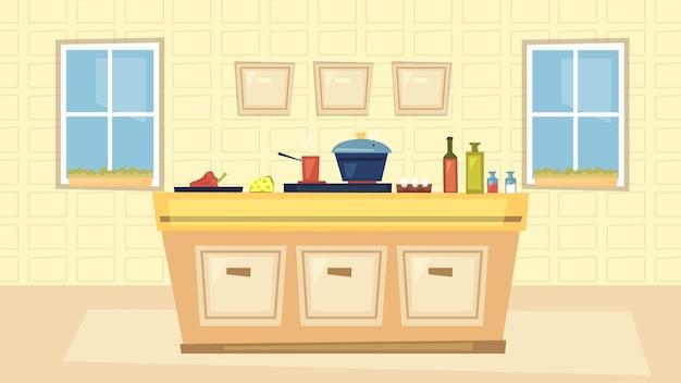 Interiores da cozinha e conceito de cozinha. interior moderno da cozinha com grandes janelas, mesa com ingredientes para cozinhar, fotos e fogão.