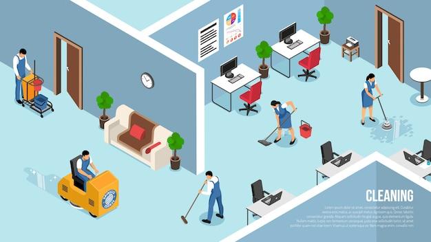 Interiores de edifícios industriais e comerciais, serviço de limpeza com pressão de pisos, ilustração em vetor equipe