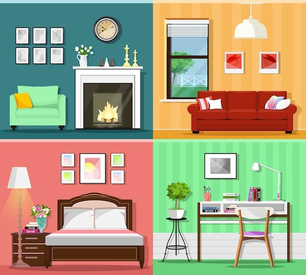 Interiores dos quartos com salas de estar com sofá, janela, poltrona, lareira, quarto com cama e escritório doméstico com abajur com mesa, cadeira e vaso de flores.