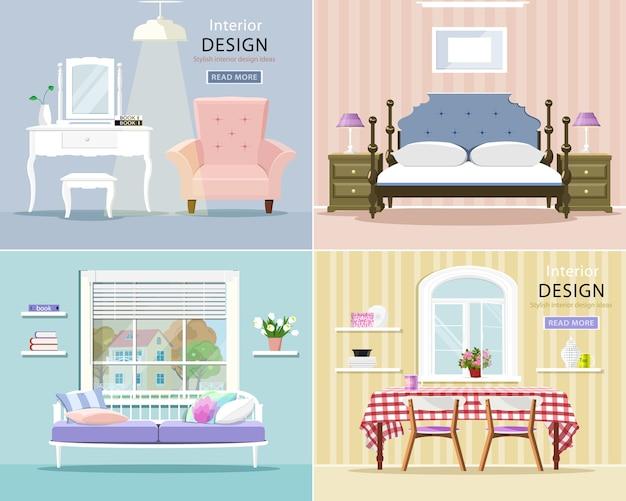 Interiores elegantes de sala de estar, quarto e sala de jantar.