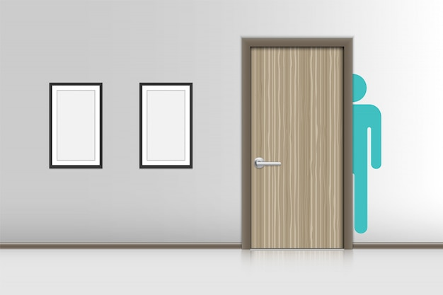 Interiores realistas decorativos de banheiro masculino, wc hygienic concept