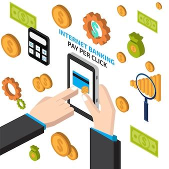 Internet banking com mão tocando tablet
