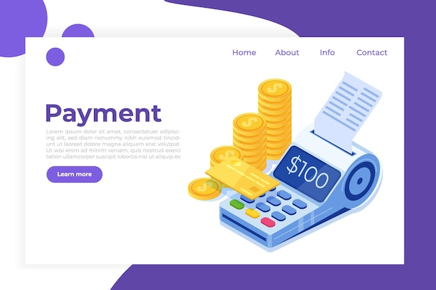 Internet banking, pagamento móvel digital, conceito isométrico de terminal pos isométrico.
