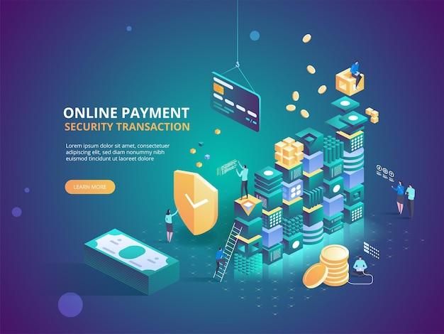 Internet banking. transação de segurança de pagamento online. compra de proteção sem fio paga através de smartphone. remuneração por transferência de tecnologia digital.