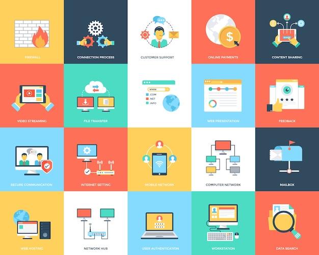 Internet criativa e ícones de segurança