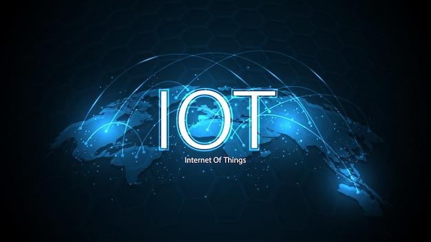 Internet das coisas. conceito de conectividade iot. fundo de tecnologia de conexão global de rede