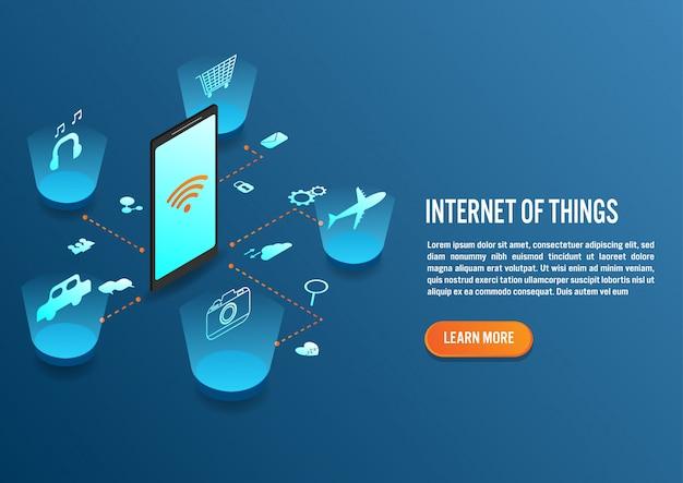 Internet das coisas em design isométrico