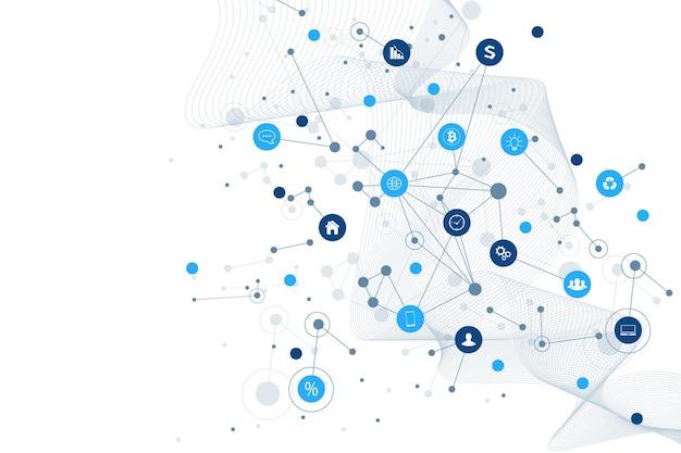 Internet das coisas, iot e conceito de rede para a apresentação do projeto. fundo de conexão de rede futurista para o comércio mundial. setor de negócios da internet das coisas 4.0. ilustração vetorial.