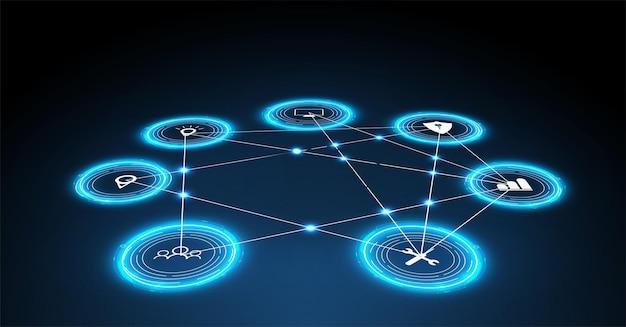 Internet das coisas (iot) e conceito de rede para dispositivos conectados. teia de aranha de conexões de rede com um fundo azul futurista. conceito de design digital. holograma iot