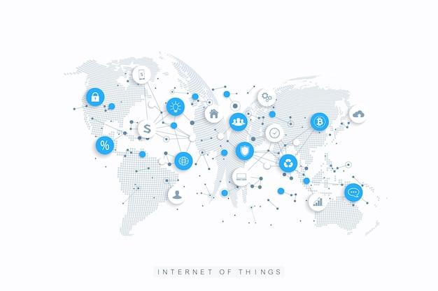 Internet das coisas iot e vetor de design de conceito de conexão de rede. rede de mídia social e conceito de marketing com globos pontilhados. internet e tecnologia empresarial.