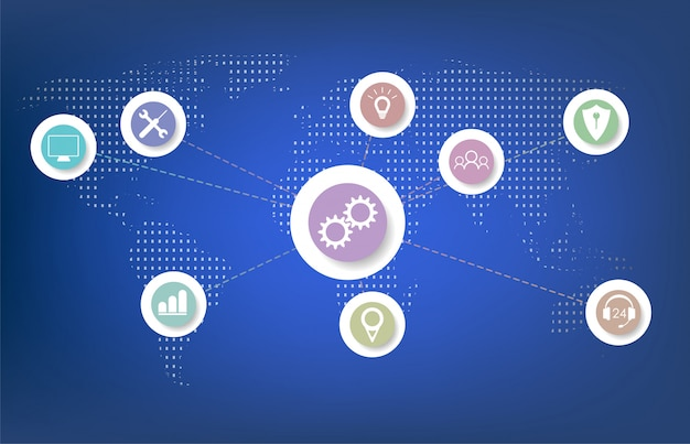 Internet das coisas (iot), nuvem no centro, dispositivos e conceitos de conectividade em uma rede.