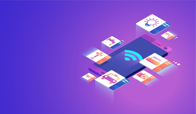 Internet das coisas no conceito de smartphone.
