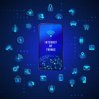Internet das coisas tecnologia de rede global controle e monitoramento da internet