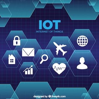 Internet de coisas de fundo tecnológico com hexágonos