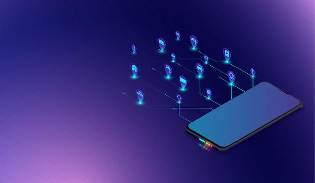 Internet do conceito de design de coisas com o smartphone.