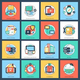 Internet e ícones de redes