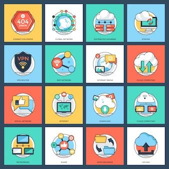 Internet e pacote de ícones de rede