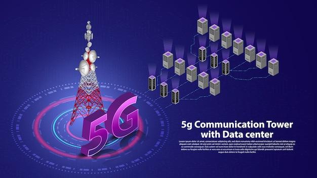 Internet hispeed sem fio da torre de comunicação 5g com data center
