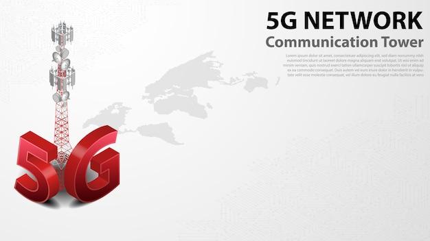 Internet sem fio da torre de comunicação 5g com data center