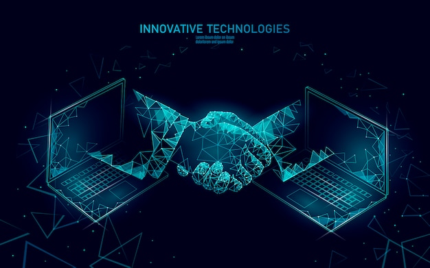Internet tecnologia 3d empresário aperto de mão. conceito de contrato de negócios finanças contrato. rede web de sucesso baixa poli