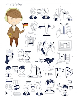 Intérprete, linguista, professor, tutor conjunto grande de estilo doodle