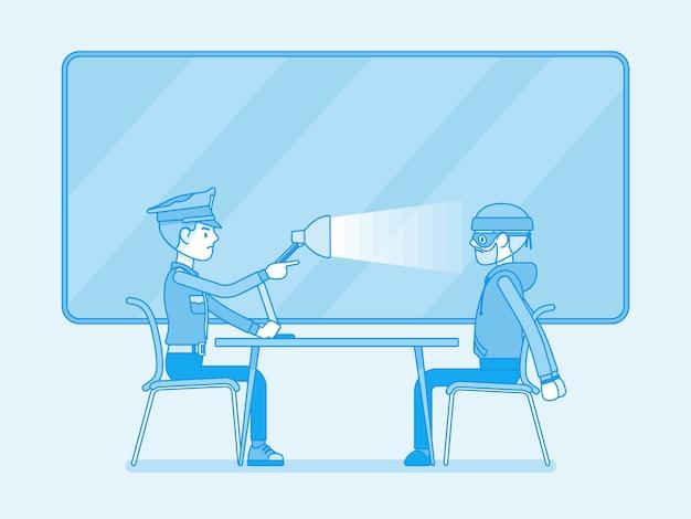 Interrogatório com lâmpada