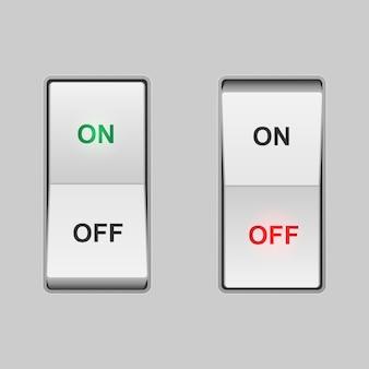 Interruptor de alavanca realista. posições de ligar e desligar