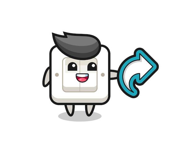 Interruptor de luz fofo com símbolo de compartilhamento de mídia social, design de estilo fofo para camiseta, adesivo, elemento de logotipo