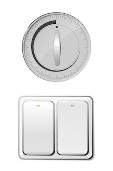Interruptor redondo e quadrado