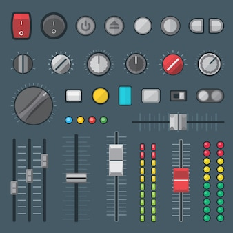 Interruptores de botões, faders, sliders, crossfaders e conjunto de indicadores