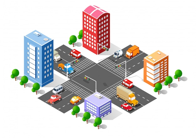 Interseção 3d isométrica da cidade