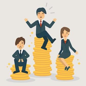 Intervalos de salário e ilustração de posições de empresa.
