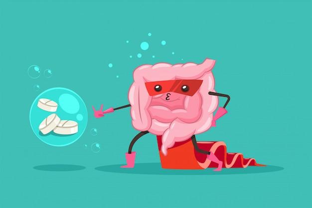 Intestino engraçado em traje de super-heróis e máscara com uma roupa. intestino bonito com comprimidos cartoon ilustração personagem plana isolada.