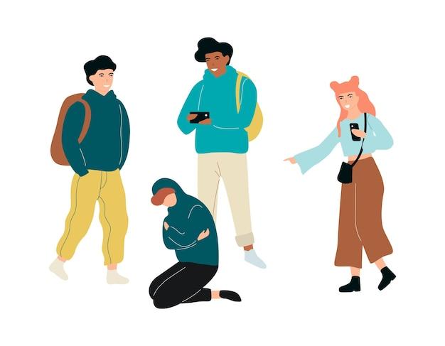 Intimidador na escola. rapaz adolescente abusado, comportamento agressivo