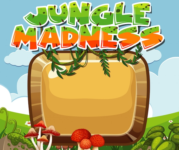 Introdução ao jogo, loucura na selva com moldura e copyspace