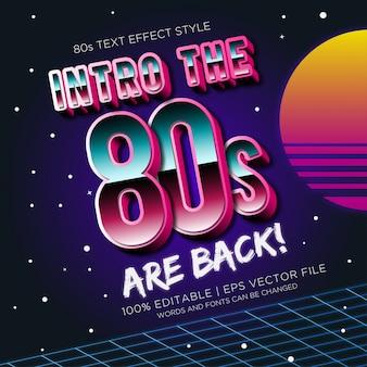 Introdução os anos 80 estão de volta efeitos de texto