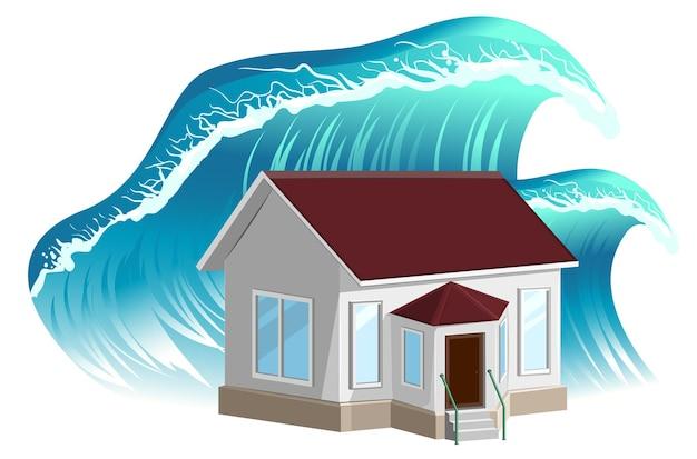 Inundação de casa isolada no branco