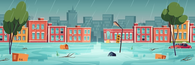 Inundação na cidade, rio, fluxo de água na rua da cidade