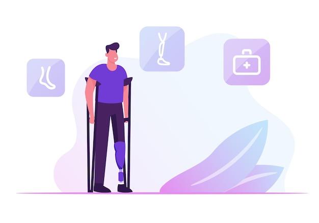 Inválido homem deficiente em pé de muletas com prótese na perna que visita a clínica de ortopedia ou hospital. ilustração plana dos desenhos animados
