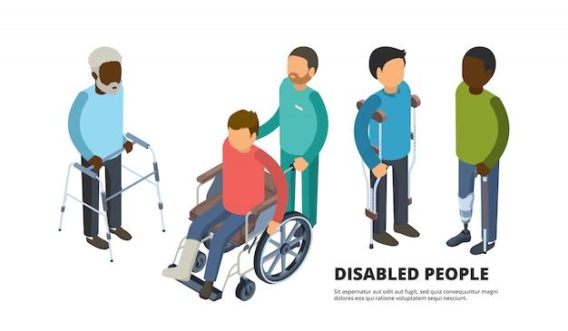 Inválidos isométricos. povos adultos defeituosos com paciente de medicina de pernas quebradas em ilustrações de cuidados de saúde 3d de cadeira de rodas