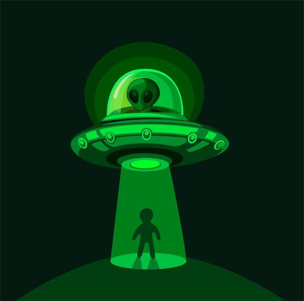 Invasão alienígena na terra. rapto de ovni a voar com feixe de luz no conceito de cena noturna na ilustração dos desenhos animados em quadrinhos
