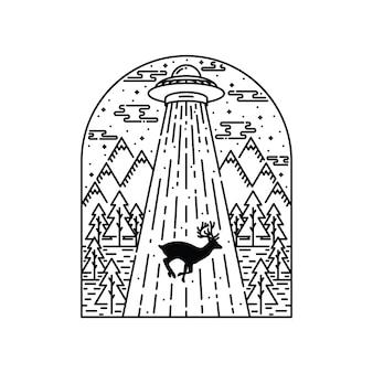 Invasão alienígena natureza animal veado gráfico ilustração