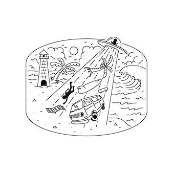 Invasão alienígena verão praia ilustração gráfica