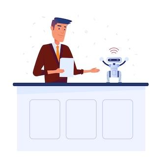 Inventor homem caucasiano configura pequeno robô com tablet via conexão wi-fi.