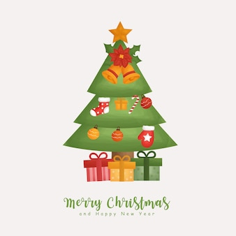 Inverno aquarela de natal com árvore de natal e elemento de natal para cartões, convites, papel, embalagens,
